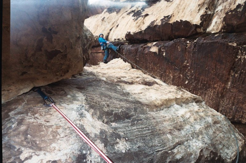 Rock Climbing Photo: 1st pitch-careful on cleaning route ,can be a litt...