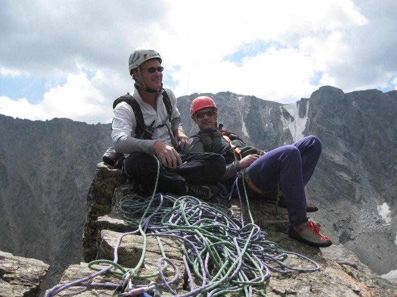 Rock Climbing Photo: Jon & I on the summit of the Petit Grepon, August ...