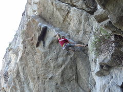 Rock Climbing Photo: The first big move to get fully established on the...