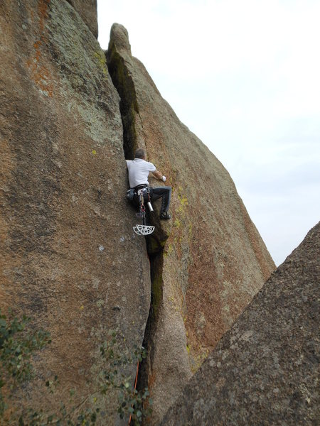 Standard Vedauwoo gear near the crux of Crack to Nowhere on the FA.