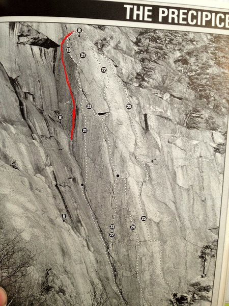 Photo from the Jeff Butterfield Guidebook.  The route follows the red line between Chitlins and Jaws.