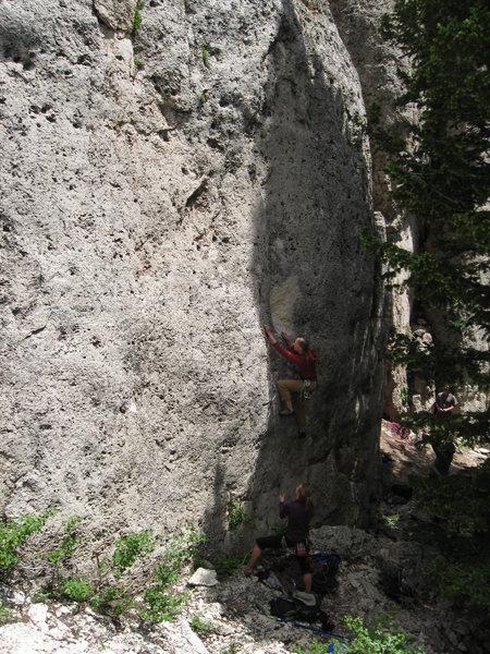 Rock Climbing Photo: Emilene starting up Hangin' Tree, with Paula Wrigh...
