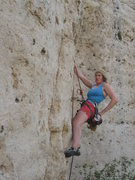 Rock Climbing Photo: Paula on her redpoint of Ewenanimity aka Little Sp...