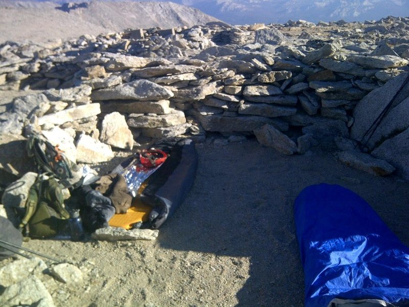 Plenty of wind breaks if you want to sleep near summit of Mount Conness, wilderness permit is required for overnight hike (from Sawmill campground), although no quota for permit