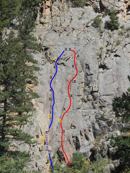 Ophidiophobe is the route on the left. Yellow dots mark gear placements.