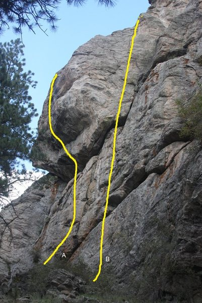 Rock Climbing Photo: SR Lower Tier showing routes A and B.