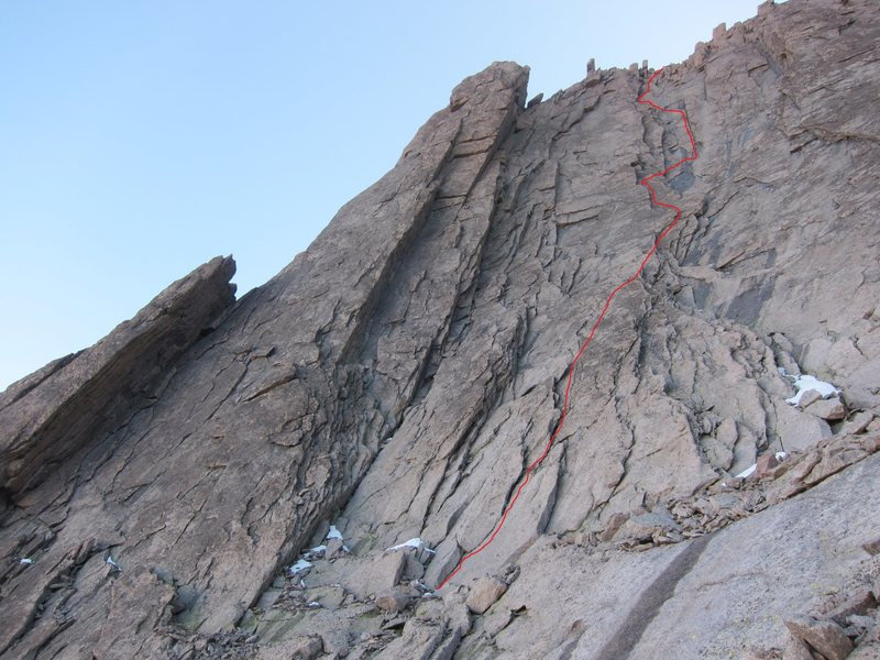 This is the route we took, which may or may not be the line taken on the first ascent.