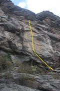 "Rock Climbing Photo: SR showing Upper Tier route ""I""."