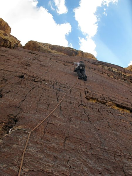 Rock Climbing Photo: P-2 of Brujas Brew  A bit spicy- climbing up a thi...