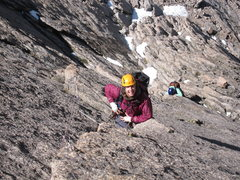Rock Climbing Photo: Lisa halfway up our second pitch with Nancy breaki...