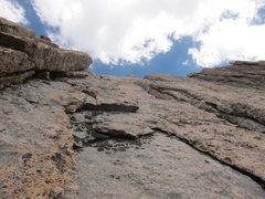Rock Climbing Photo: Looking up at the third pitch (the LFD that starts...