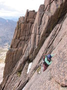 Rock Climbing Photo: Nancy halfway up the steep beginning of the fourth...