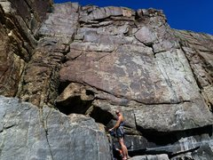 Rock Climbing Photo: April about to lead Low Voltage on Twin Towers wal...