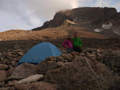 Rock Climbing Photo: Our camp in  the boulder field beneath the massive...
