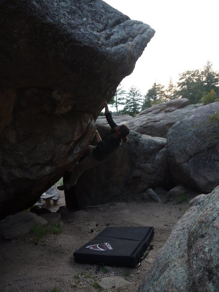 Boulder problem, probably V4, next to our campsite in Eleven Mile
