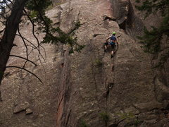 Rock Climbing Photo: On the start of Heavy Weather, Eldorado Canyon