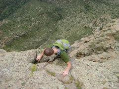 Rock Climbing Photo: Randy climbing the 5th class.