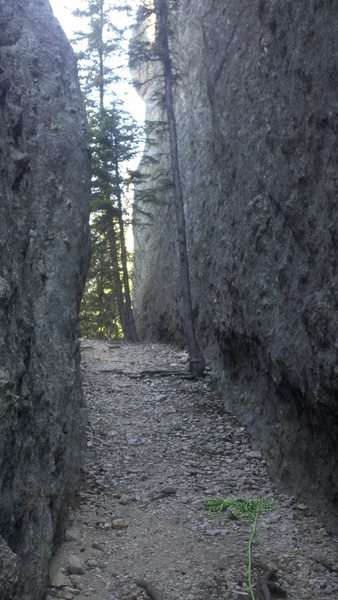 looking toward main trail from base of route