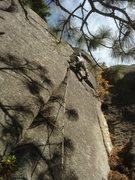 Rock Climbing Photo: Frank R. leads Flapjacks.