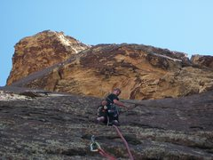 Rock Climbing Photo: Dustin leading the second ascent of pussy nuts, 5....