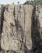 Rock Climbing Photo: Topo showing routes on Power Tower Wall.  From lef...
