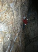 Rock Climbing Photo: Jenny on the traverse on a beautiful October night...