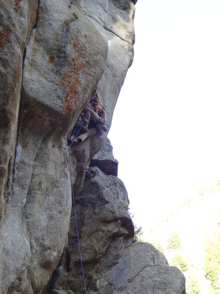 Rock Climbing Photo: Working on cranking it. Something I usually don't ...