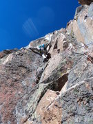 Rock Climbing Photo: Joe takes the left option and is at the crux of th...