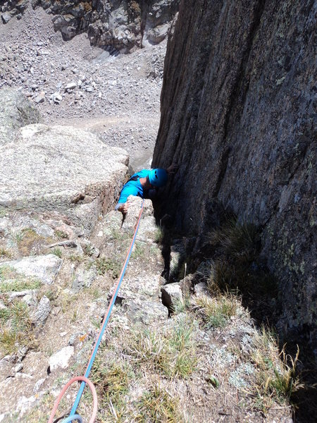 Rock Climbing Photo: Joe emerges from the chimney at the top of P4. He ...
