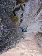 Rock Climbing Photo: Joe approaches the belay on P5 (after moving the b...