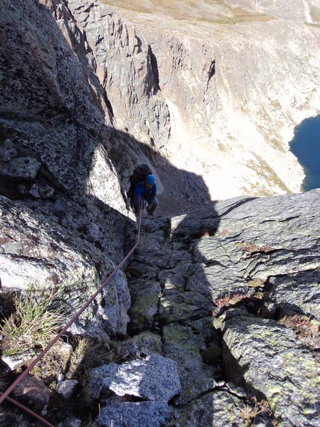 Joe approaches the notch at the top of P7.  There is a mouse living up at this belay.