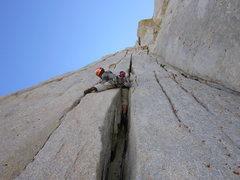 Rock Climbing Photo: Second offwidth pitch.