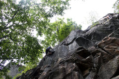 Rock Climbing Photo: using the little toe hold to go up to the last mov...