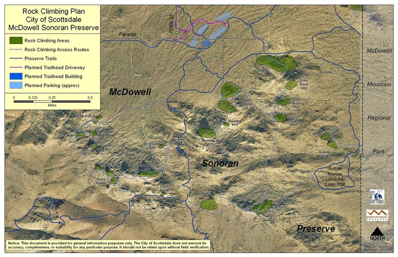 This is the new official rock climbing plan for the McDowell Sonoran Preserve, an area owned and managed by the City of Scottsdale. See previous comment for details on the official climbing policies that have been adopted.