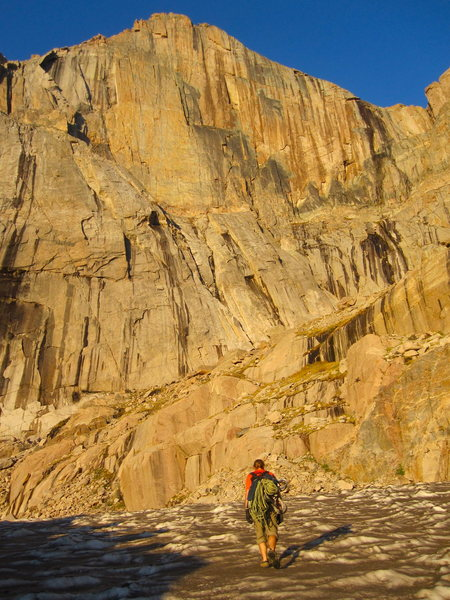 Rock Climbing Photo: Nice, yellow, morning light on The Diamond, early ...