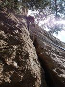 Rock Climbing Photo: Ryan leading Pitch 1.