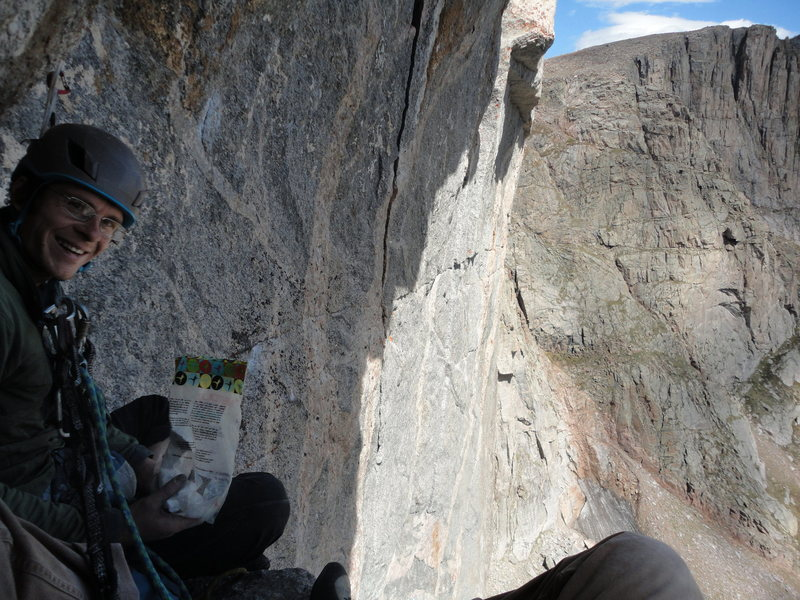 Cody Blair keeping morale high moments before casually onsighting the wild face moves to regain the crack of 'Cary Granite'.