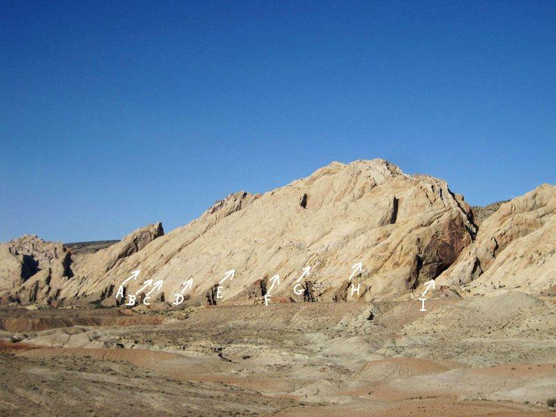 Rock Climbing Photo: A.Sinister Slab Area B.Seduction of Stone 5.8R C.M...