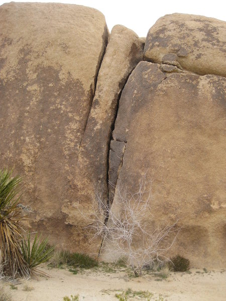 Rock Climbing Photo: The crack that goes part way up then continues wit...