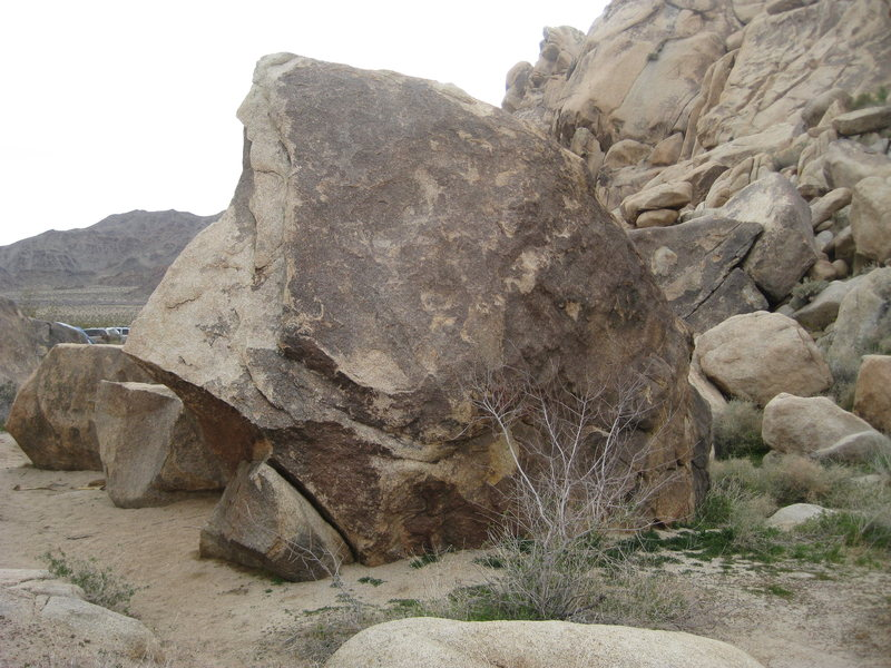 Great aretes and easy climbs on all side of this boulder that I call Gadianton's Sword Rock.