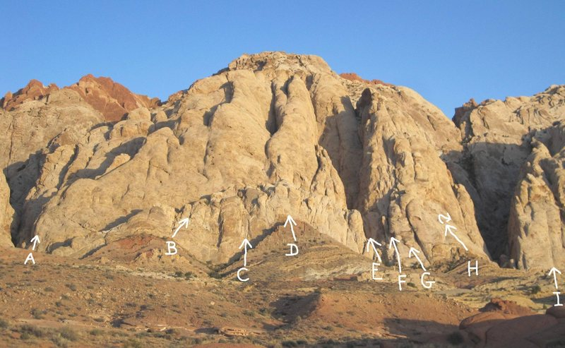 Rock Climbing Photo: A.Runout Ridge 5.7R B.Commitment 5.9R C.The Giraff...
