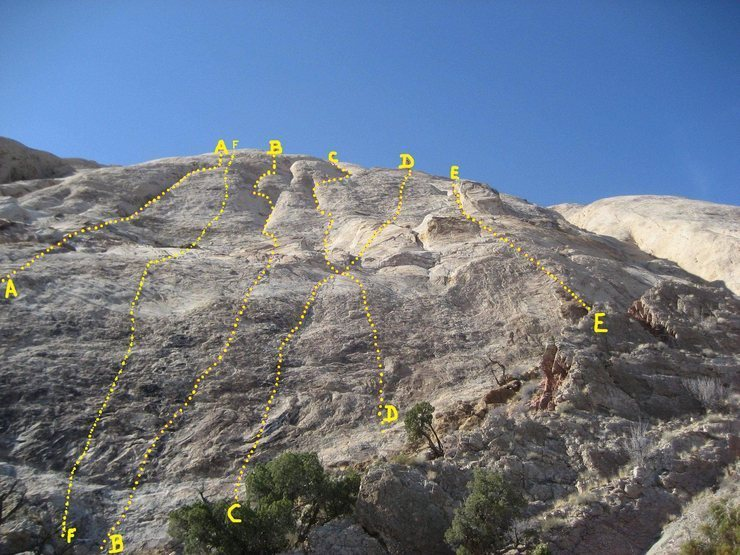 Rock Climbing Photo: Sinister Slab Area Topo.  A)The Return of The Croc...