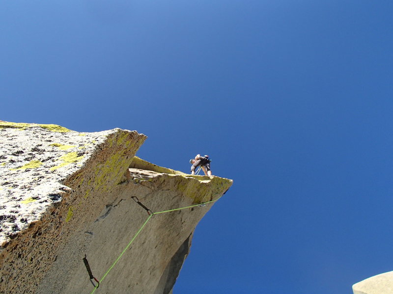 Rock Climbing Photo: Climber just above the overhang