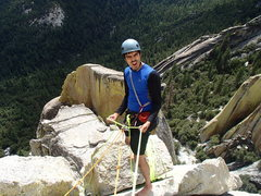 Carlos Serrano amped up at the traverse belay! Working up towards Terrorvision