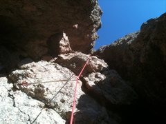 Rock Climbing Photo: Inside the huge channel, middle of pitch 1.