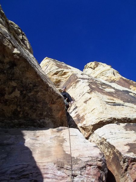 1st pitch of tunel vision 5.7, Red rock nevada. December 2011.