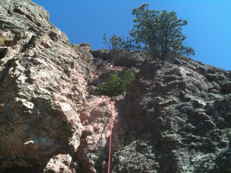 Rock Climbing Photo: Start of pitch #1, sling the tree with a big one t...