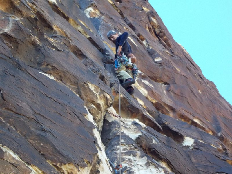 Leading pitch one of ragged edges 5.8, red rock nevada. January 2012.