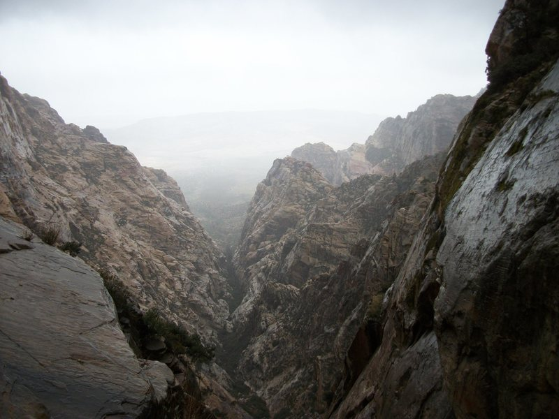 North fork of Pine creek during thunder storm. Paiute wall scout mission, red rock nevada. March 2012.