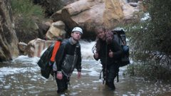 Rock Climbing Photo: Jim Mercer and Dale king in a flash flood. Paiute ...
